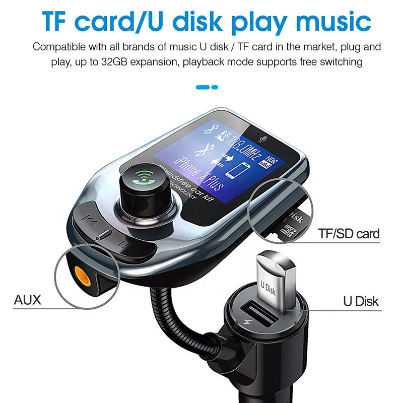 2019 Wireless Multifunctional Blue tooth Handsfree Car Kit/Adapter FM Transmitter/Calling/Mp3 Player, USB Ports for charger