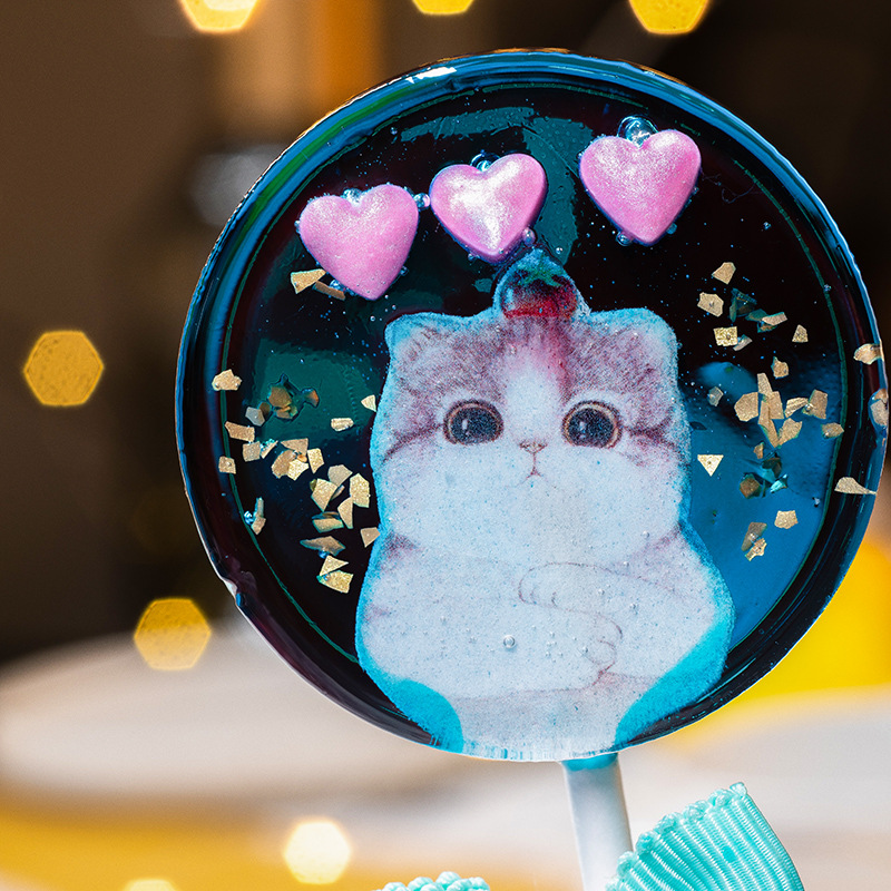 High quality cute unicorn round handmade lollipop hard candy for girls