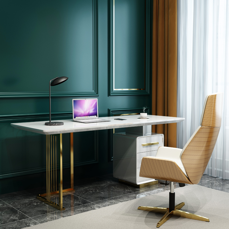 حجم مخصص 120/140/160 سنتيمتر أبيض أسود اللون منضدة المكتب المنزلي كرسي مجموعة مع ساق فولاذ لا يصدأ
