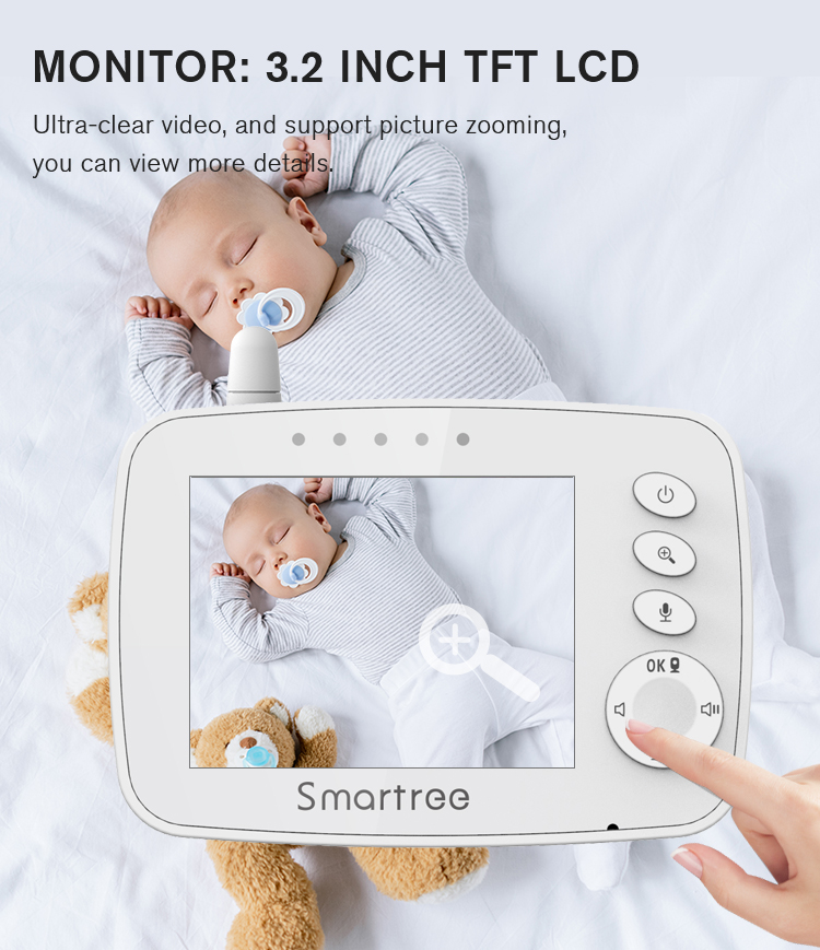 OEM White Baby Camera Monitor 2.4 Inch Night Vision Digital Remote Pan Tilt For Sound And Motion Detection Baby Monitor