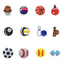 6-20 шт./лот аксессуары для баскетбола, футбола, ПВХ, для обуви, JIBZ Charms fit Croc браслеты, волейбольная обувь, Декор, подарок для детей(Китай)