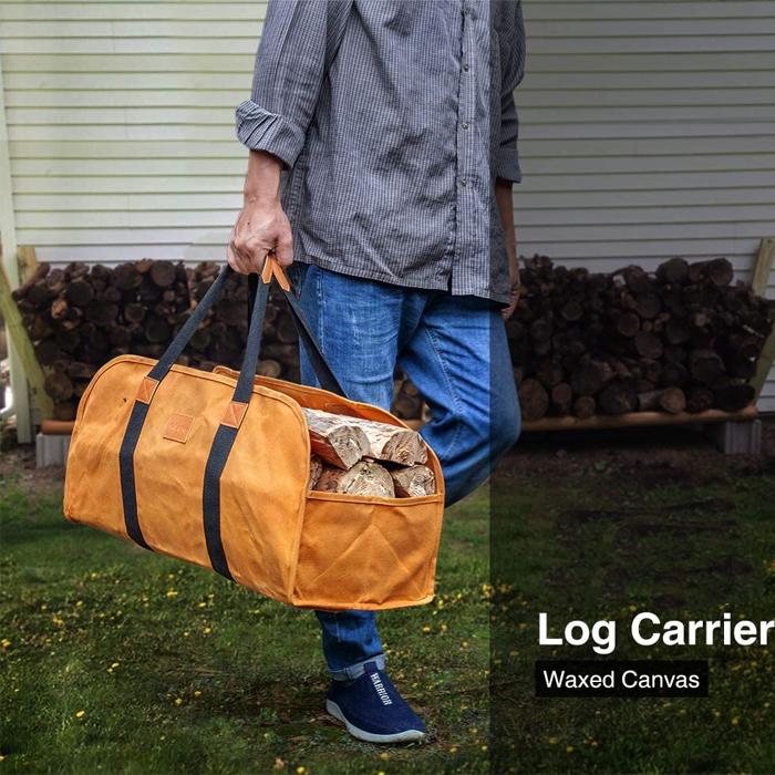 Переноска для дрова, вощеный холст, прочный держатель для камина, сумка-тоут