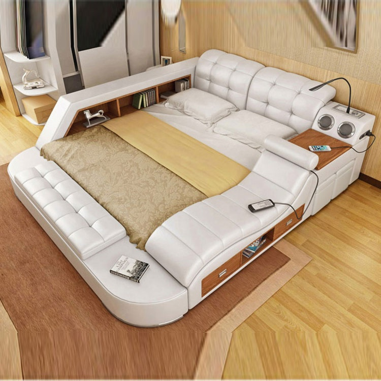 Modern smart furniture home combination multi-function double extra large leather white bed