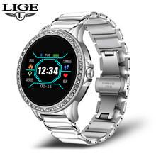 Женские Смарт-часы LIGE, женские Смарт-часы с монитором кровяного давления, пульсометром, фитнес-трекером, 2020, новые модные часы со стразами(China)