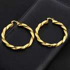 Indian Design 60mm Hoop 18K Gold Plated Twisted Brass Hoop Earrings