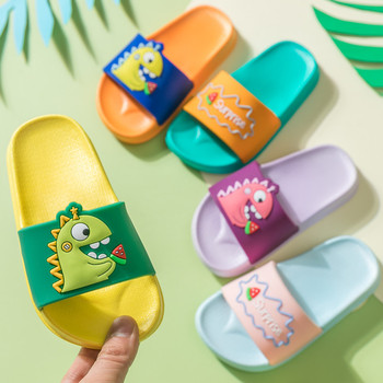 Summer Dinosaur Children's Slippers For Boys Girls Slippers PVC Soft Bottom Non-slip Beach Sandals Kids Home Bathroom Flip Flops