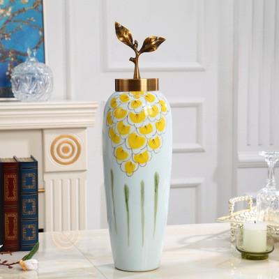 Цзиндэчжэнь, современная белая керамическая напольная ваза ручной росписи для офиса, Декор для дома