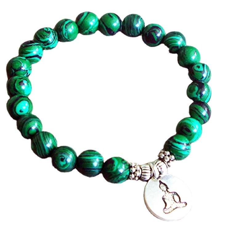 Malachite Vintage Bangle In Brass 100/% Natural Green Gemstone Chakra Bracelet