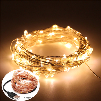 Waterproof Outdoor LED Fairy Light 5V 10M 100LEDs USB Copper Wire String Lights Warm White