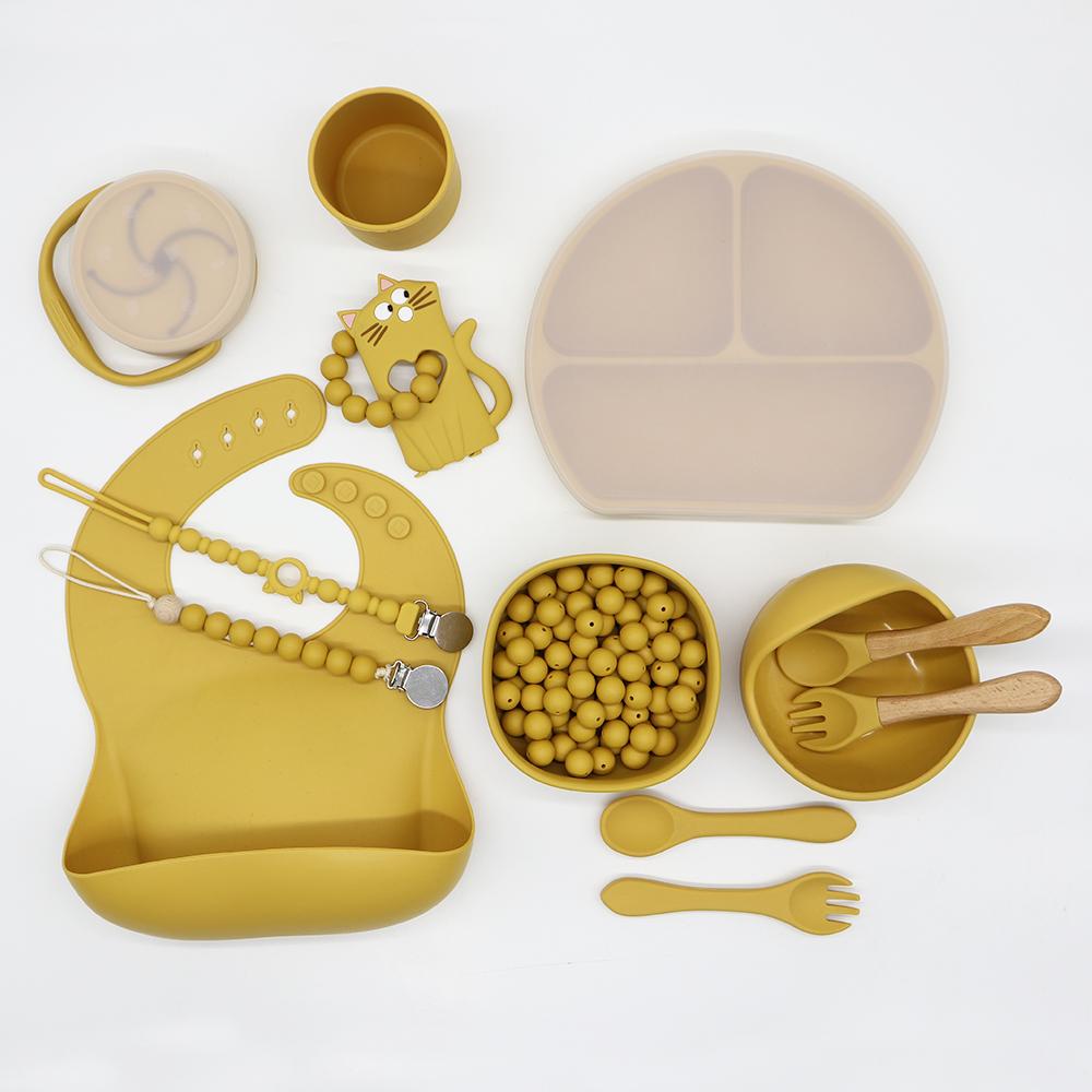 customised silicone baby bibs waterproof and suction baby bowl set, bpa free wholesale infant feeding bib