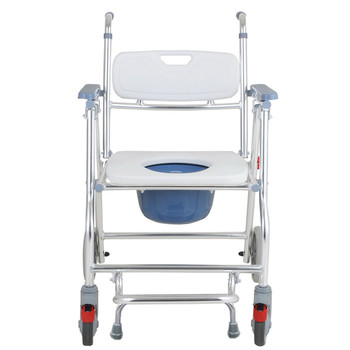 Medical Transport Toilet Commode Bathroom Wheelchair Bedside Casters Patient Commode Wheel Chair Over Toilet