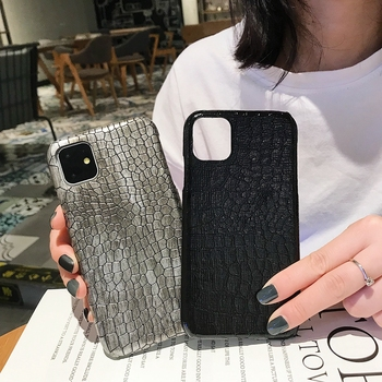 Luxury Crocodile Leather Case for iPhone 11 Plus Pro Max PU Original Blank Custom Mobile Phone Shell Thin 8 7 Plus X Xr Funda
