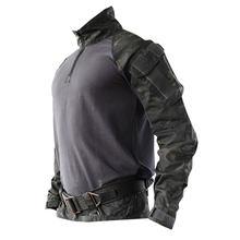 Уличная износостойкая тактическая рубашка с длинными рукавами, летняя боевая рубашка для мужчин-(черный полицейский, только Топ) XXL(Китай)