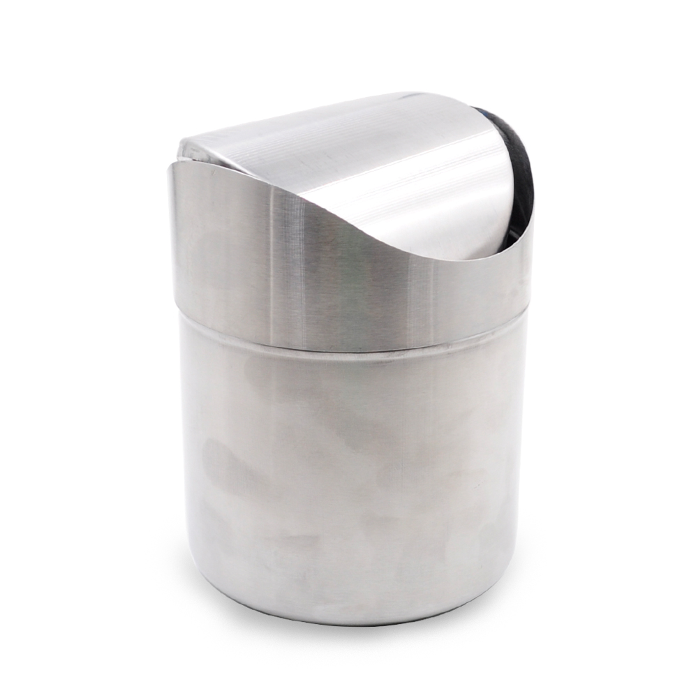 Compact Design Pure Stainless Steel Table Dust Bin Trash Can For Car Swing Top Dustbin