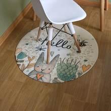 Коврик с мультяшным рисунком в скандинавском стиле для декора компьютерного стула, диаметр 90 см, Круглый напольный ковер, коврики для гости...(Китай)