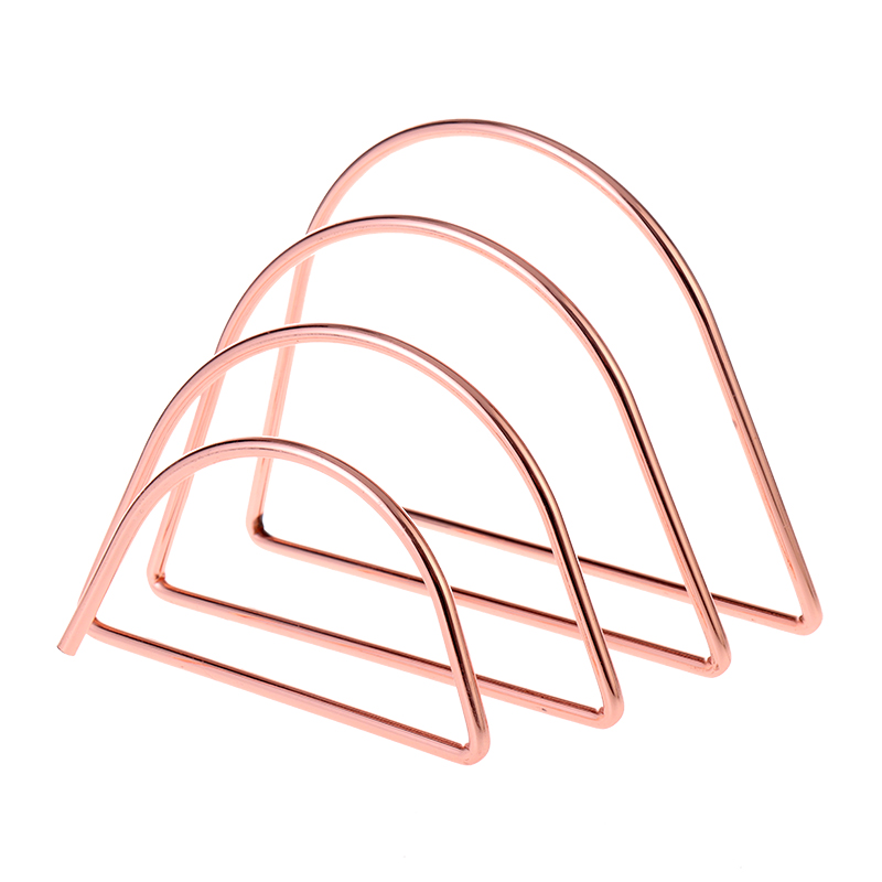 Rose Gold Modern Simple Metal School Desk Accessories with 3 Storage Slots Office Supply  Mail Letter Organizer