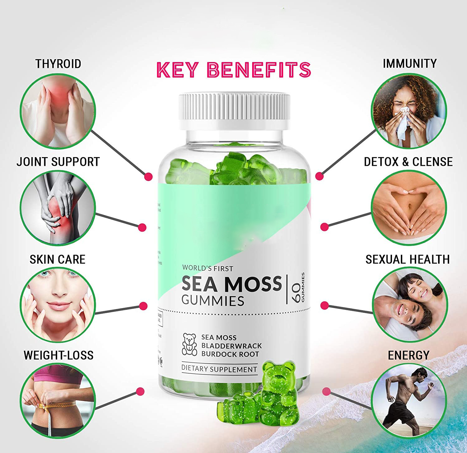 Organic Sea Moss Gummies Irish Sea Moss and Bladderwrack gummies For Immune System , Joint Support and skin care
