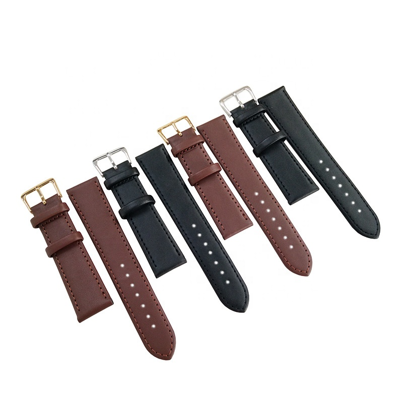 Assorted size black brown cheap leather strap watch band men and women PU leather watch straps