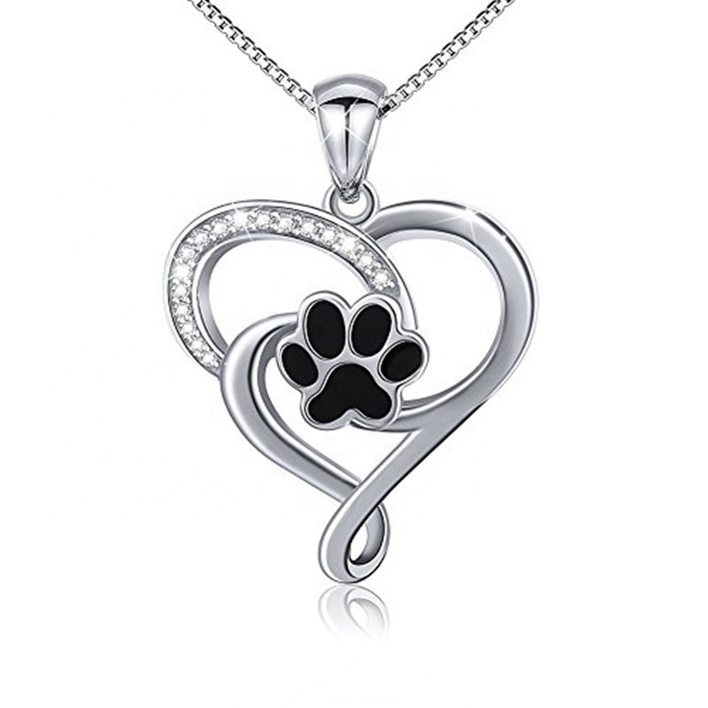 Sterling Silver 925 Pet Cat Dog Paw Pawprint Necklace /& Earrings Set