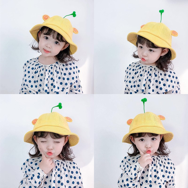 2020 baby cute yellow bucket hat protector facial hat for kids