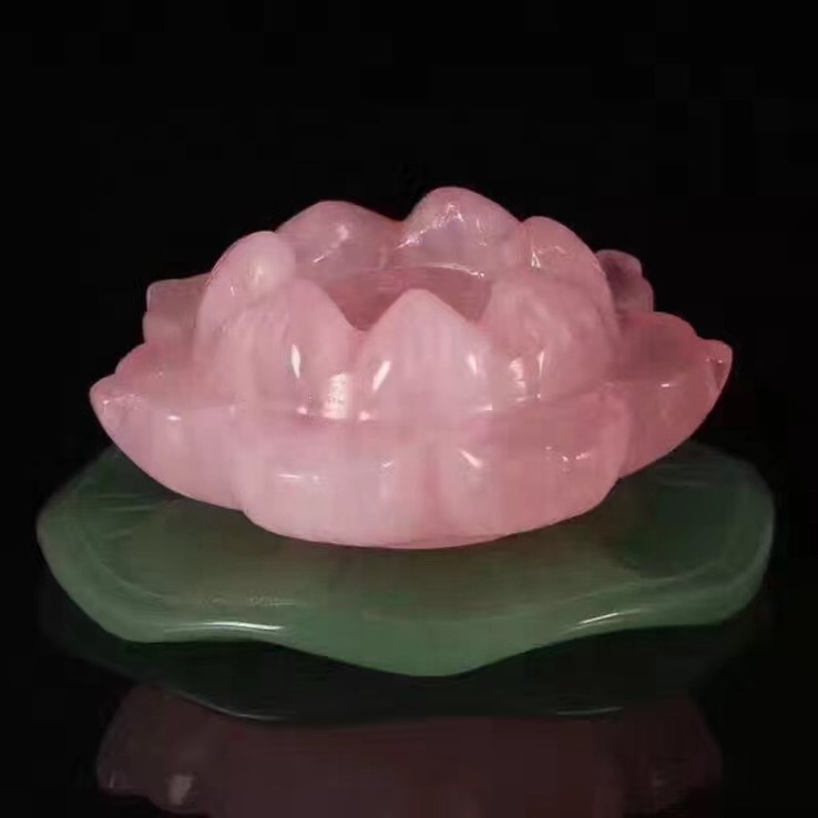 Wholesale Natural Crystal Lotus Candle Holder Rose Quartz Crystal Candle Holders