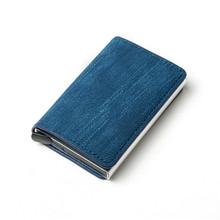 Держатель для визиток, синий/серый/коричневый, из искусственной кожи и алюминиевого сплава, держатель для кредитных карт, кошелек(Китай)