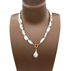 16 -22 inch fashion choker necklace ,100% natural freshwater pear in noodle shape baroque pearl. pearl length 20-28 MM ,knotted