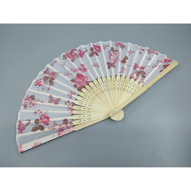 Dancing Fan Delicate Elegant White Polyester Fans Bamboo Folding Hand Fan Women Girl Summer Supplies Wedding Christmas Party