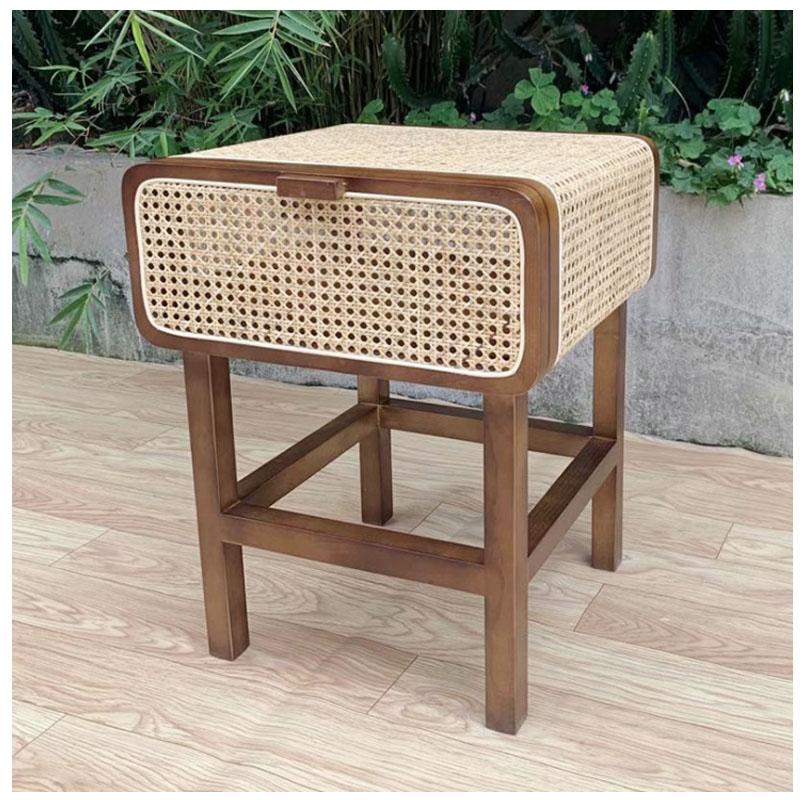 Мебель для спальни из ротанга на заказ, Декоративный ящик для хранения из ротанга, деревянный прикроватный столик из ясеня