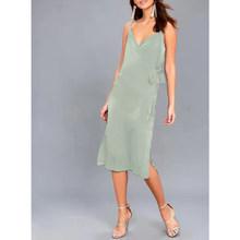 Женское атласное вечернее платье M30484, элегантное платье с v-образным вырезом и поясом на завязках(Китай)