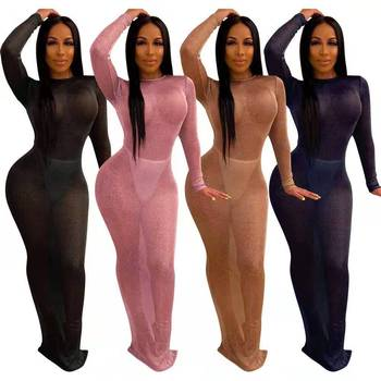 New Arrival Sexy Dress Women See Through Long Sleeve Backless Night Club Maxi Dresses