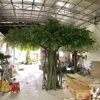 Indoor cheap large artificial banyan tree fake plastic plants decorative ficus trees