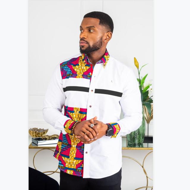 Африканская ткань Анкара 100 хлопок Африканский восковой принт модные мужские рубашки с длинным рукавом