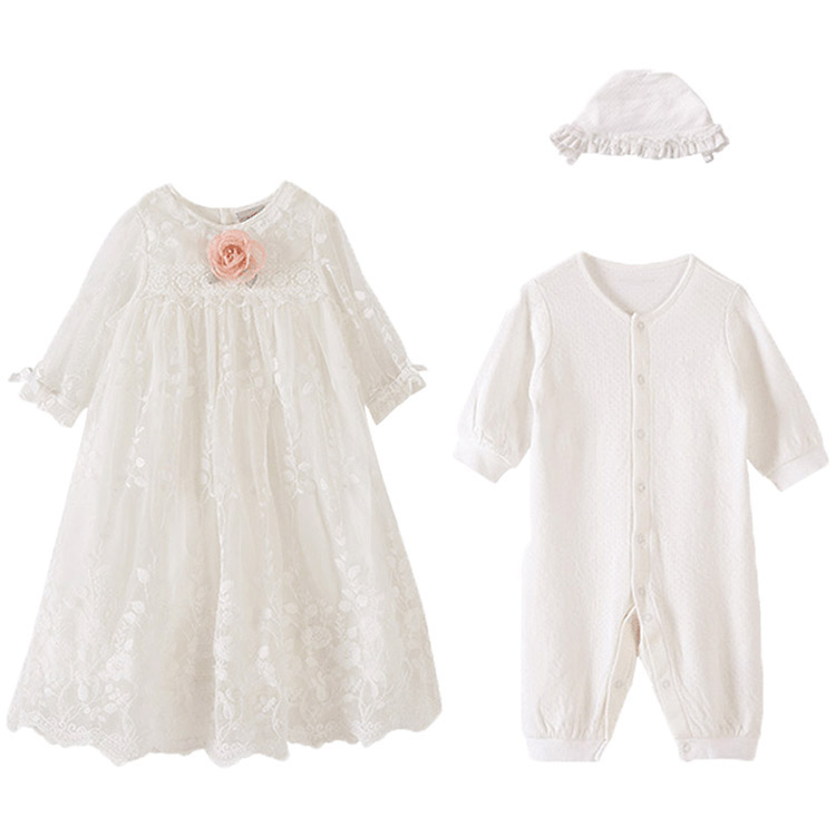 Baby Girl Lace Princess Dress Ceremonial Dress Newborn Full Dress Clothes Toddler Formal Attire Clothing