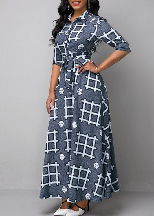 Women Floor Length Dresses Geometric Printed Turndown Collar Long Sleeve Casual Belted Shirts Dress