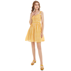Cotton Girls Casual Dresses Accept Customization Sweet Yellow Backless Girlhood Style Casual Check Cotton Girls Dress