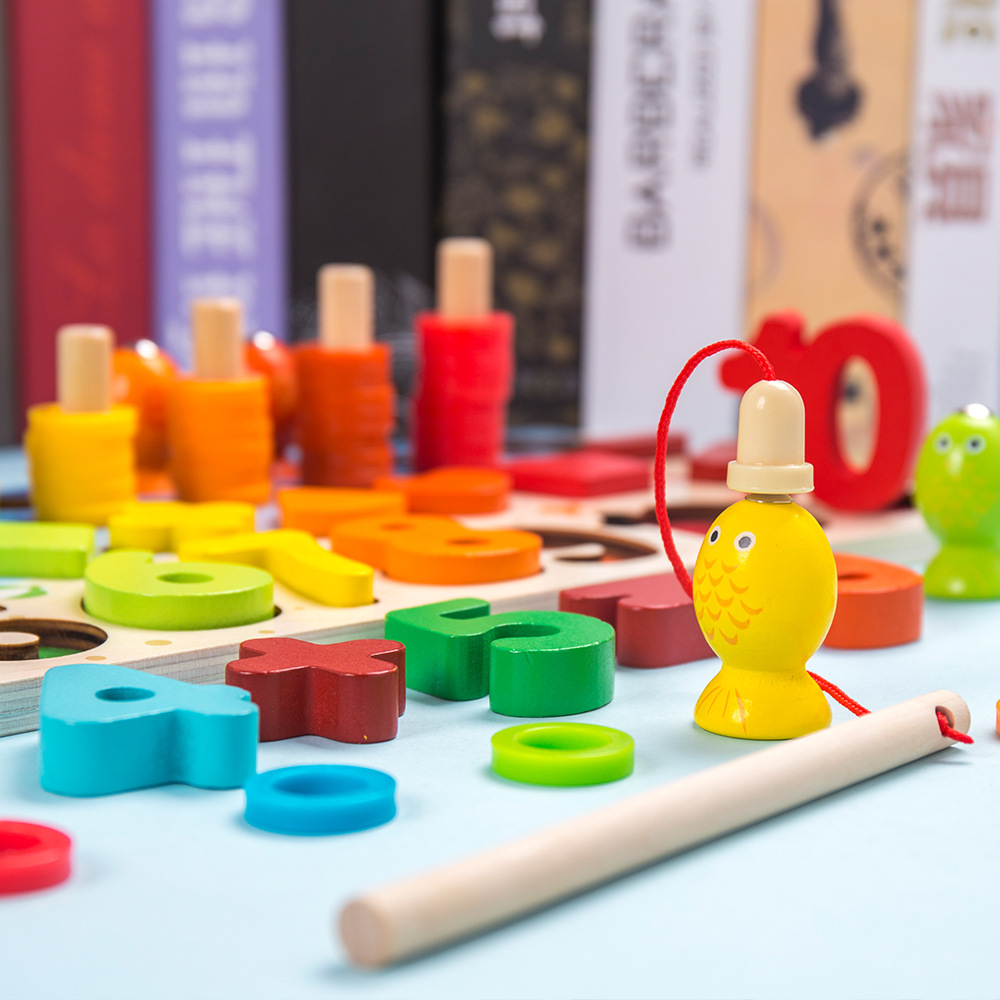 Детские строительные блоки, развивающие игрушки, цифровая головоломка 4 в 1, раннее обучение, логарифмическая доска