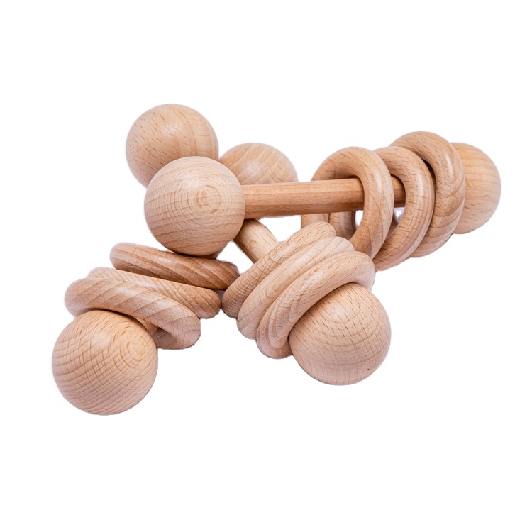 Wholesale Beech Wood Baby Training Toys Wooden Rattles Baby Teething Toys