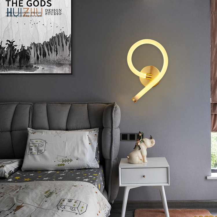 NEKE Acrylic iron copper color warm light 14w indoor bathroom loft modern decoration acrylic led wall lamp