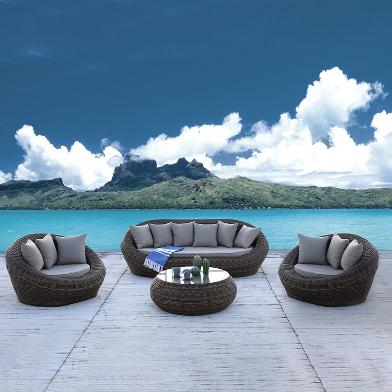 Высокое качество открытый круглый ротанговая мебель металлический бистро сад ротанга диван набор