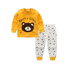 Новинка 2020 года; Детские хлопковые Пижамные комплекты для мальчиков Милая футболка с круглым вырезом и мультяшным принтом топы и штаны комп...(Китай)