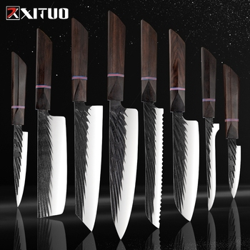 XITUO 8 Sets Kitchen knives Handmade Forged Japanese Sharp Chef Knife 440C Steel Cleaver Kiritsuke Santoku Utility Paring Knife