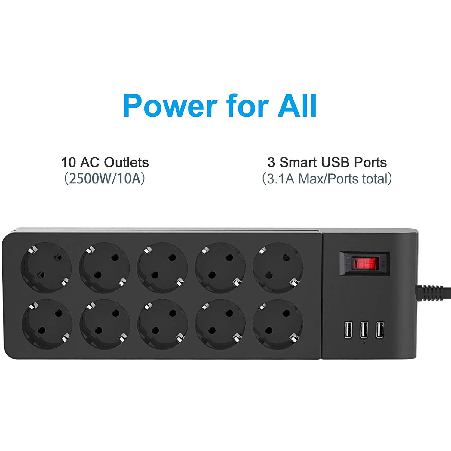 socket strip, multiple socket with 10 slots and 4 USB, EU plug with switch