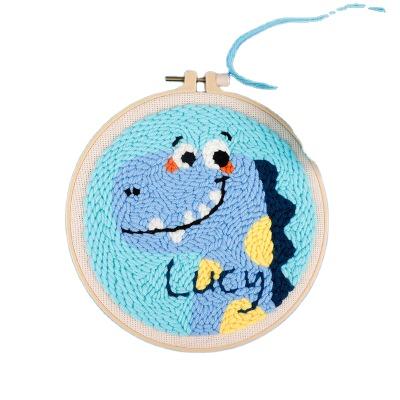 Handmade Needlework Craft Cartoon Animal Pattern Embroidery Cross Stitch Punch Needle Set