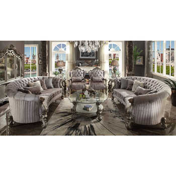 2021 Luxury French Baroque Living Room Set/Royal Palace Antique 3 Seater Classic European Style Leather Sofa