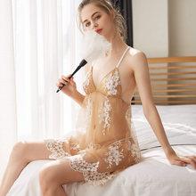 Новая кружевная ночная рубашка с принтом и открытой спиной + трусики, костюм, сексуальная женская одежда для сна, прозрачные тюлевые комплек...(Китай)