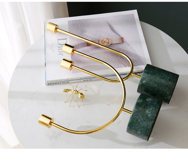 OEM Logo Shaped golden home goods candle holders home decor marble candle holders