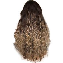 Парики из натуральных волнистых волос с градиентом для девочек, коричневые вечерние длинные вьющиеся волосы, модные синтетические парики д...(Китай)