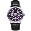 silver case, purple dial