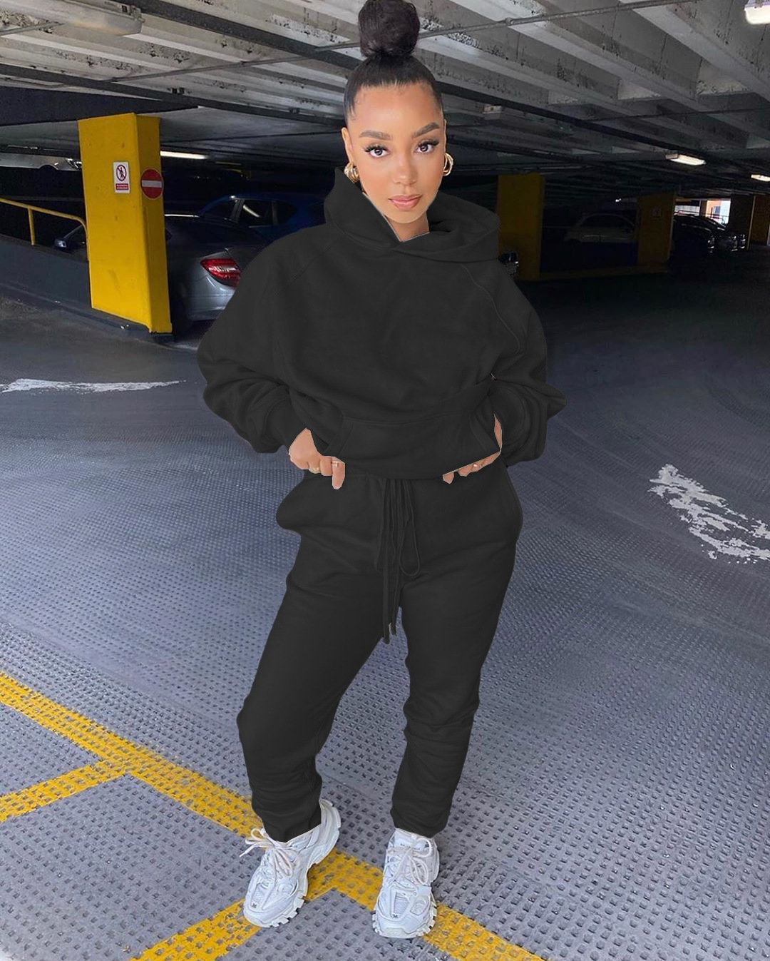 2020 popular style customize womens plus size polyester blank jogger sets track sport suits